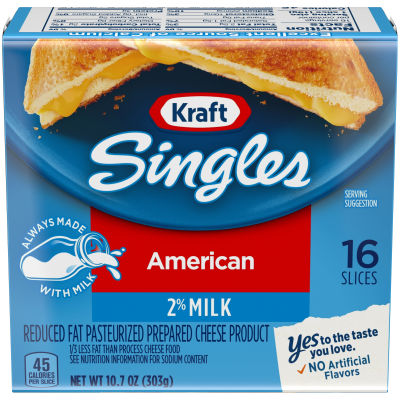 Kraft Singles 2% Milk Reduced Fat American Cheese Slices, 10.7 oz (16 slices)