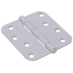 "Hardware Essentials 5/8"" White Round Corner Residential Door Hinges with Removable Pin"