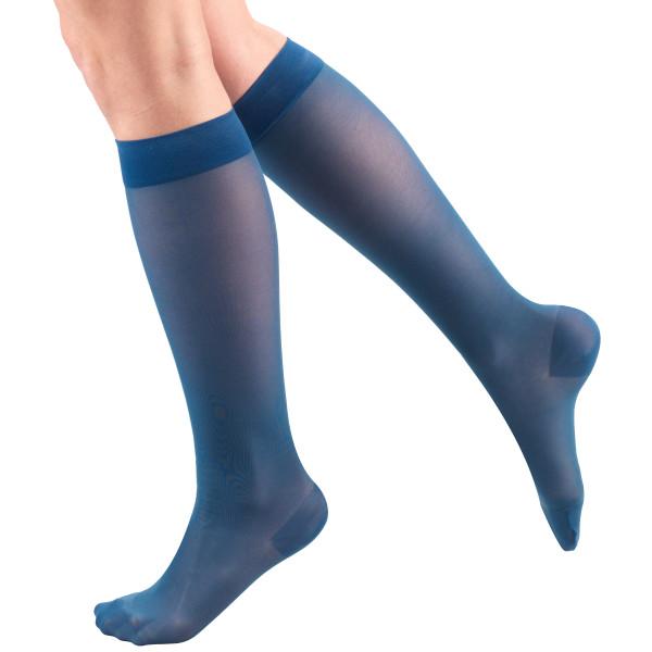 1773 Ladies' Below Knee Closed Toe Teal Sheer Stockings