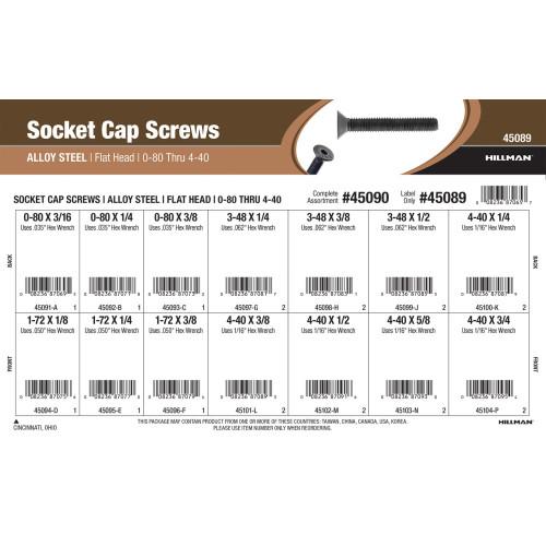 Flat-Head Socket Cap Screws Assortment (#0-80 thru #4-40 Thread)