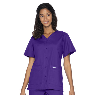 Landau Essentials Snap Front Scrub Top for Women: Classic Relaxed Fit, V-Neck, 4 Pockets 8232-