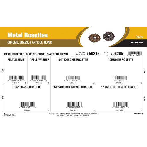 Metal Rosettes Assortment (Chrome, Brass, & Antique Silver)