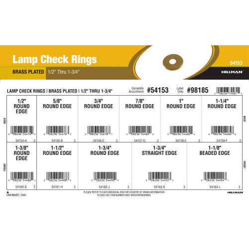 Brass Lamp Check Rings Assortment (1/2