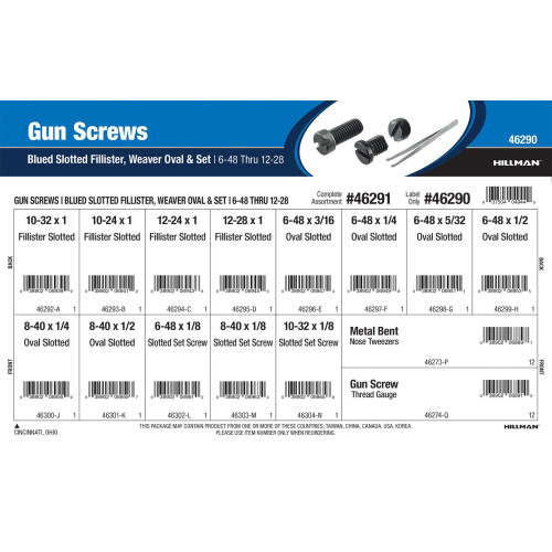 Blued Slotted Fillister, Weaver Oval, and Set Gun Screws Assortment (#6-48 thru #12-28)