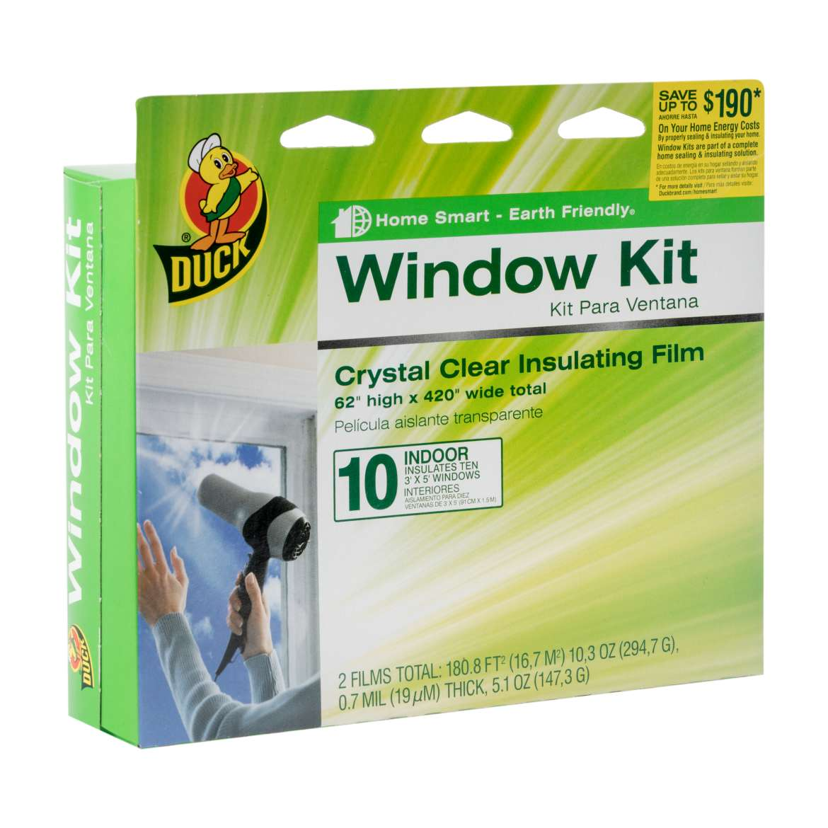 Duck® Brand Shrink Film Window Insulation Kit - Indoor, 10 pk, 62 in. x 420 in. Image