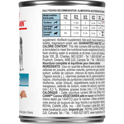 Royal Canin Veterinary Diet Canine Vegetarian Canned Dog Food