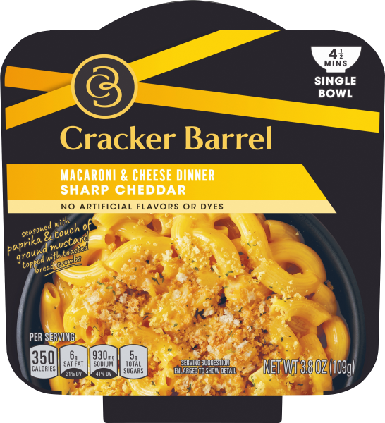 Cracker Barrel Single Bowl Sharp Cheddar Macaroni & Cheese 3.8 oz Box
