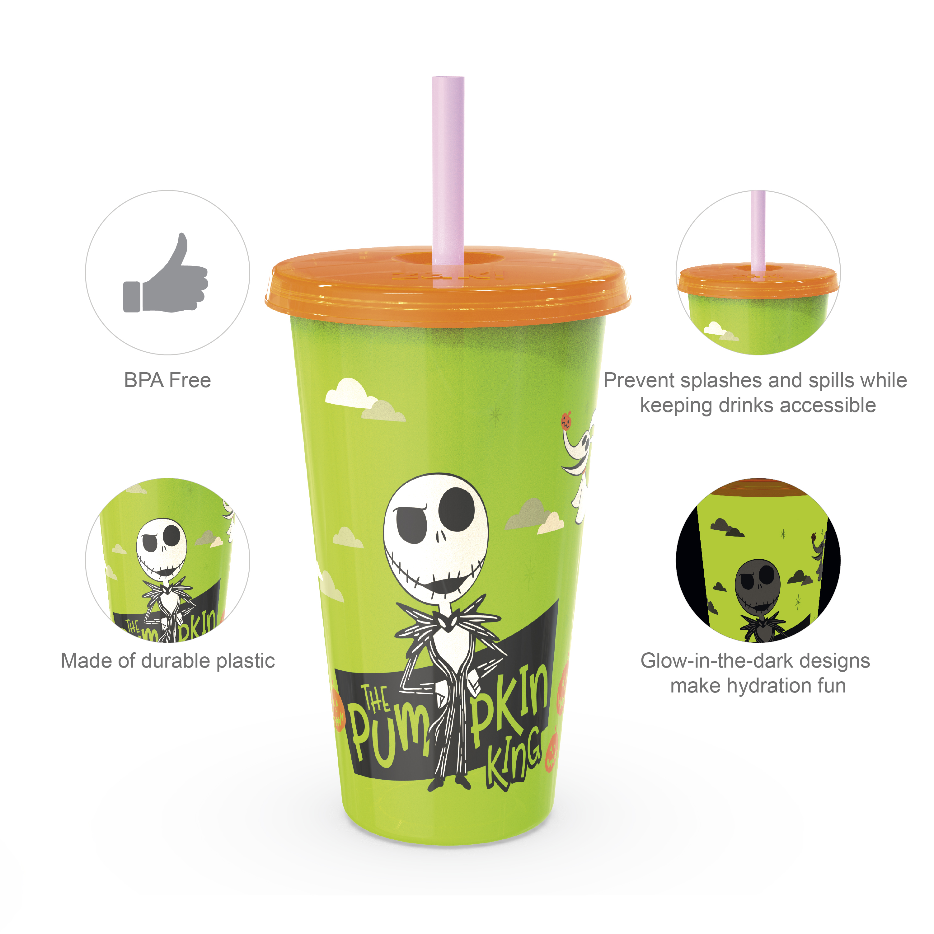 The Nightmare Before Christmas 24 ounce Reusable Plastic Kids Tumbler, Jack Skellington, Oogie Boogie & Zero, 4-piece set slideshow image 4