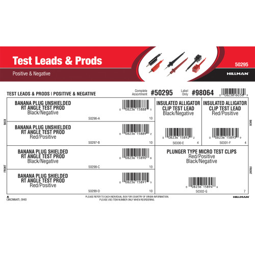 Positive & Negative Test Leads & Prods Assortment