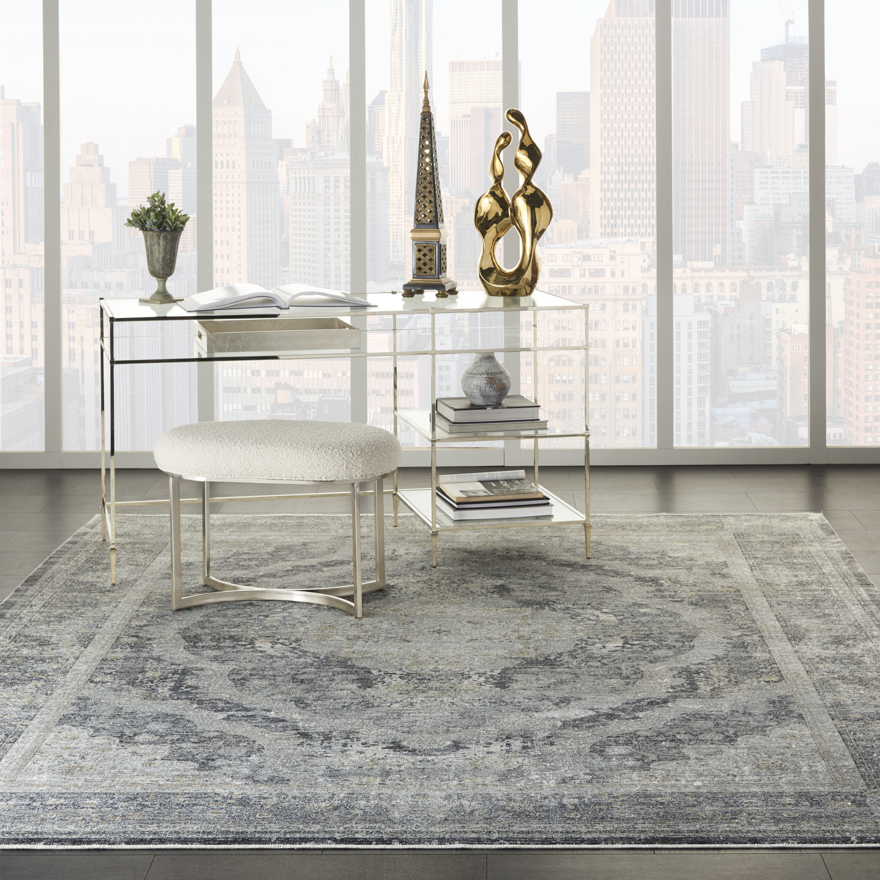Nourison Starry Nights STN05 Charcoal Cream Rug