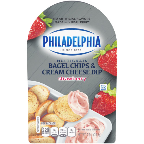 PHILADELPHIA Bagel Chips & Strawberry Cream Cheese Dip, 2.5 oz. Tray (Pack of 10)