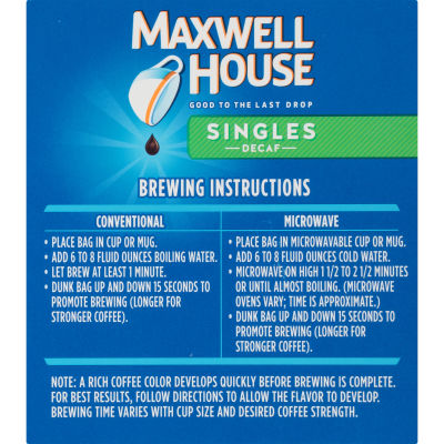 Maxwell House Decaffeinated Singles Coffee Bags 3 oz Box