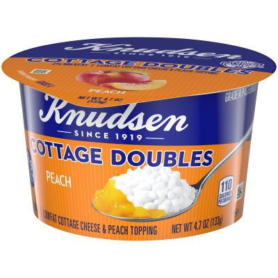 Knudsen Cottage Cheese Doubles Peach Topping 4.7 oz Cup