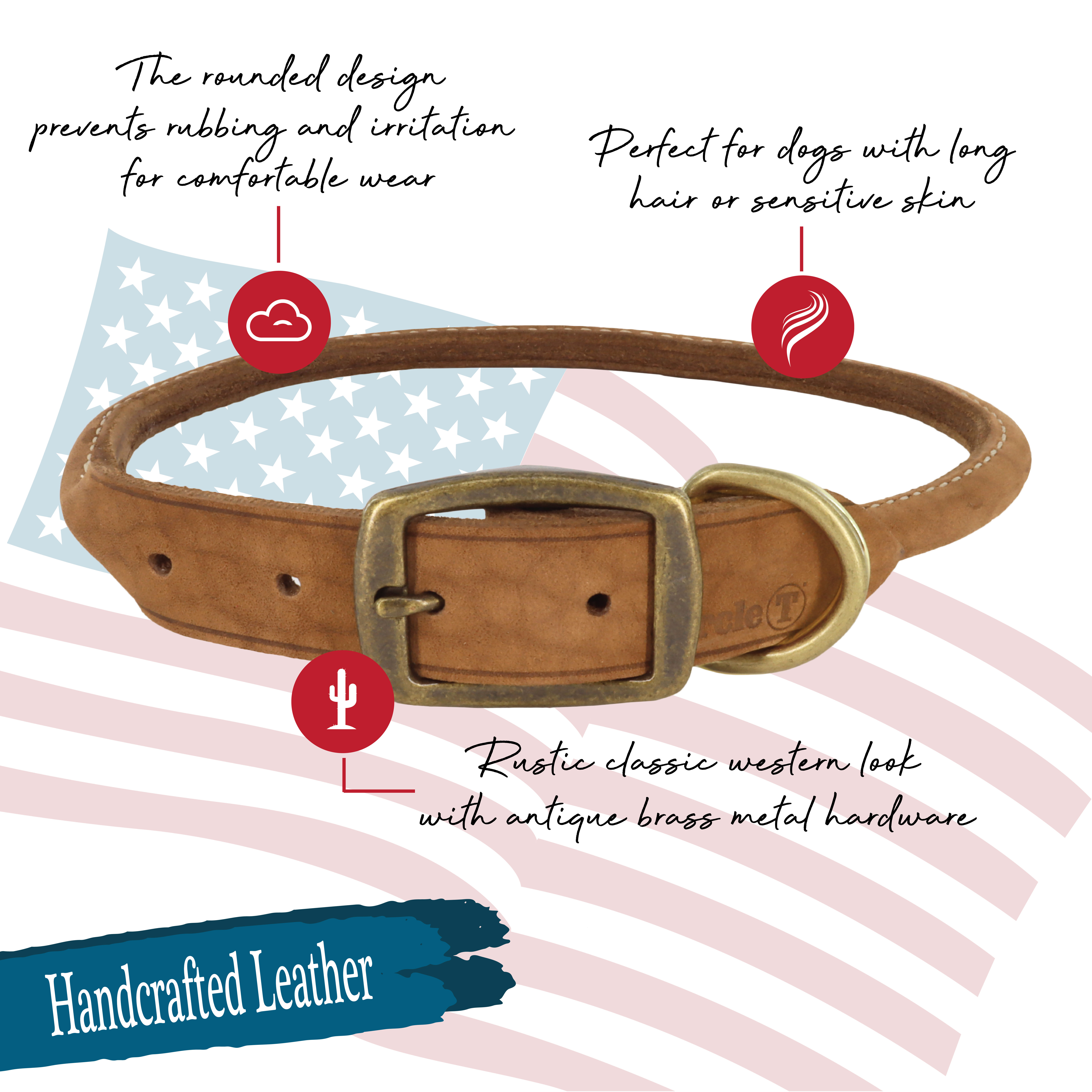 Circle T® Rustic Leather Round Dog Collar