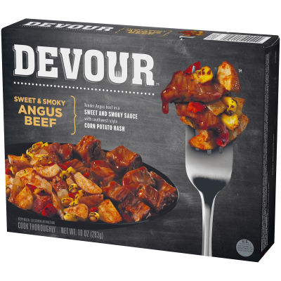 DEVOUR Sweet & Smoky Angus Beef Frozen Meal, 10 oz Box