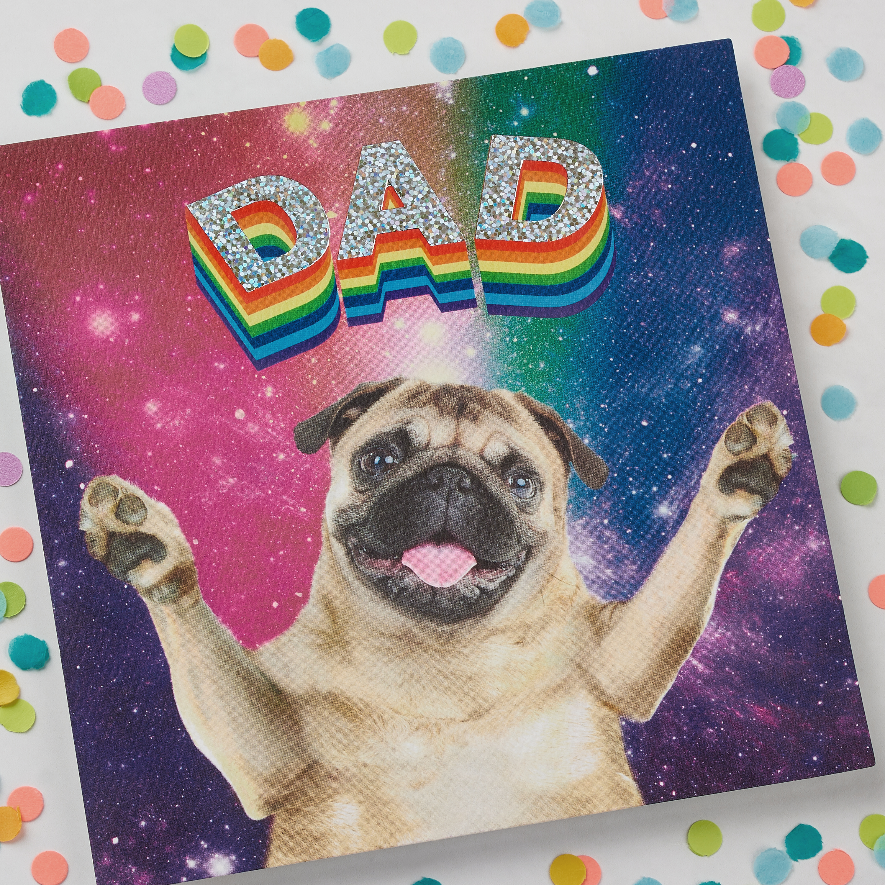 Rainbow Pug Father's Day Card image