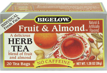 Front of Fruit and Almond Herbal Tea box