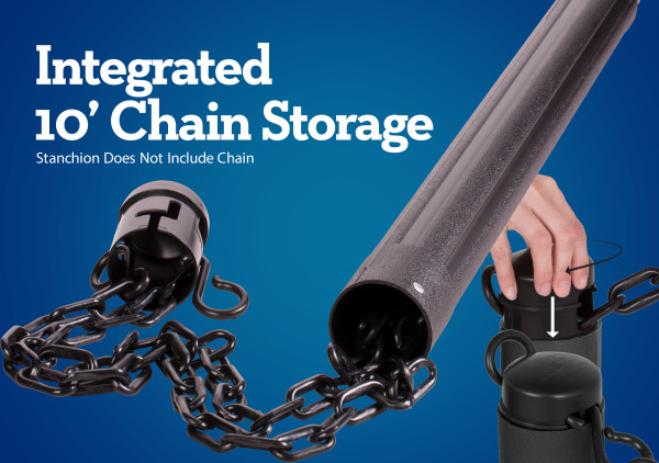 ChainBoss Stanchion - Black Empty with No Chain 8