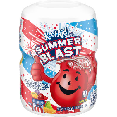 Kool-Aid Sugar Sweetened Tropical Punch Powdered Drink Mix, 19 oz Canister