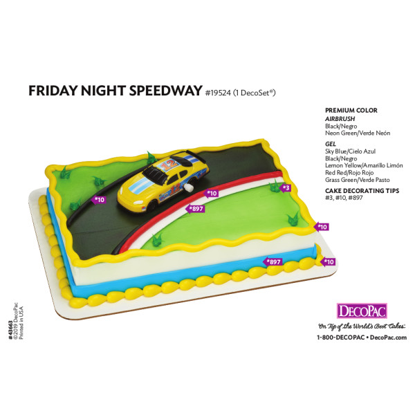 Friday Night Speedway Cake Decorating Instruction Card