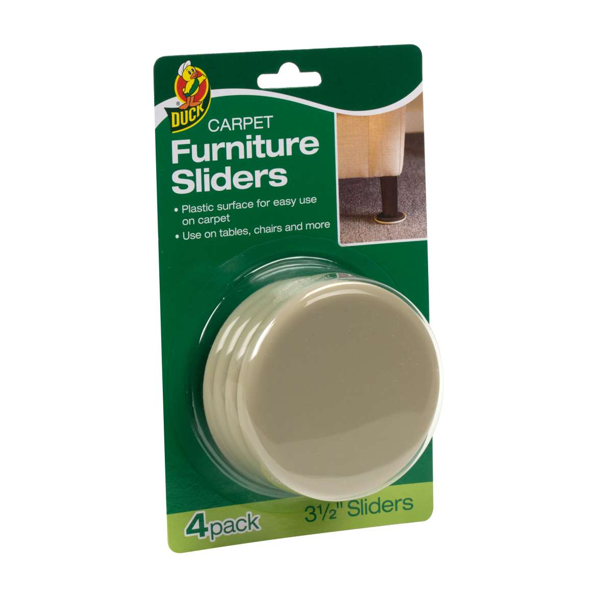Duck® Brand Plastic Carpet Furniture Sliders - Brown, 3.5 in. Image