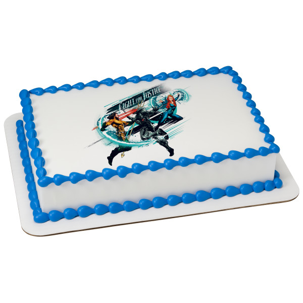 Aquaman™ Fight For Justice PhotoCake® Edible Image®