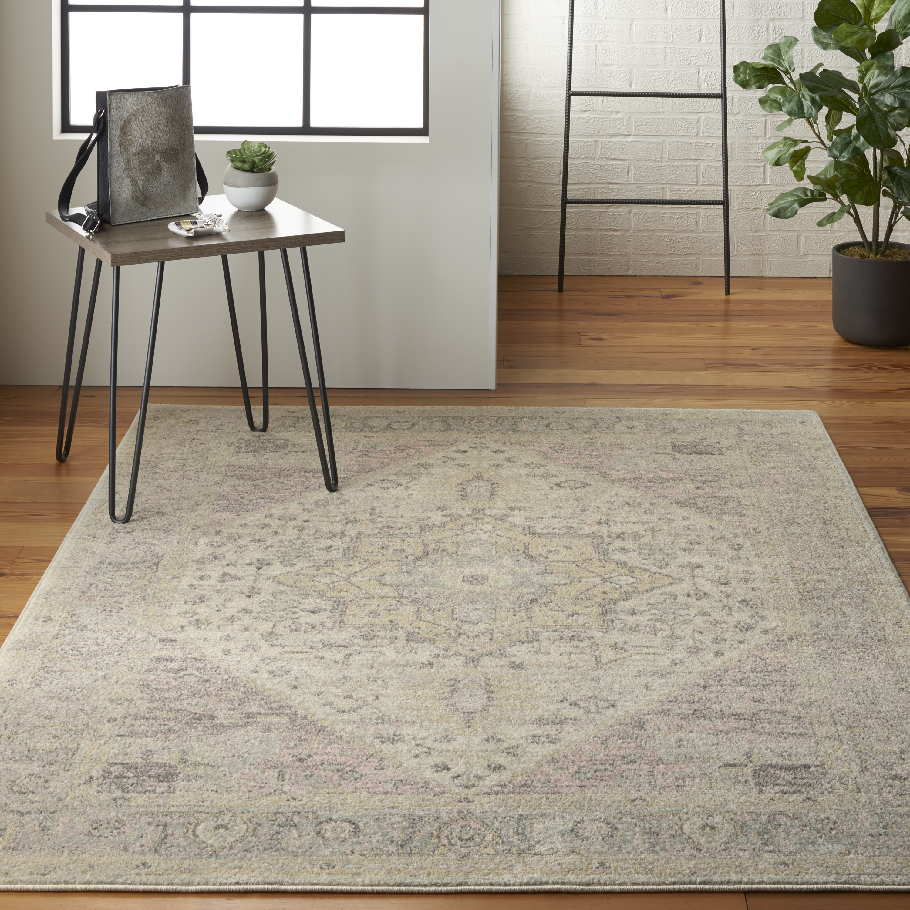 Nourison Tranquil TRA06 Ivory Pink Rug