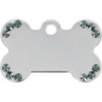 Chrome with Black Crystals Small Bone Quick-Tag
