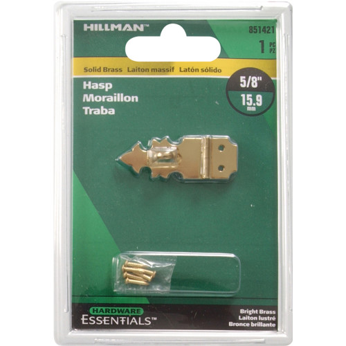 Hardware Essentials Solid Brass/Bright Brass Decorative Hasps 5/8