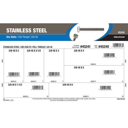 Full-Thread Stainless Steel Hex Bolts Assortment (3/8