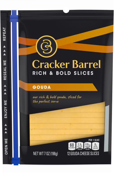 Cracker Barrel Natural Gouda Cheese Slices 7 oz Wrapper