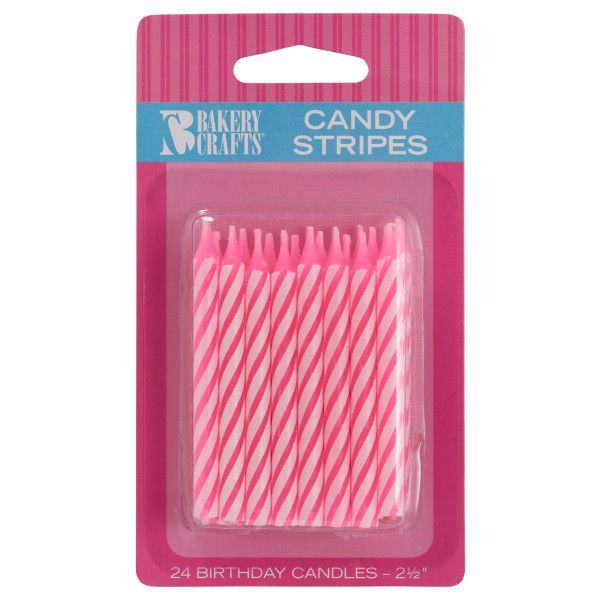 Pink Candy Stripe Smooth & Spiral Candles