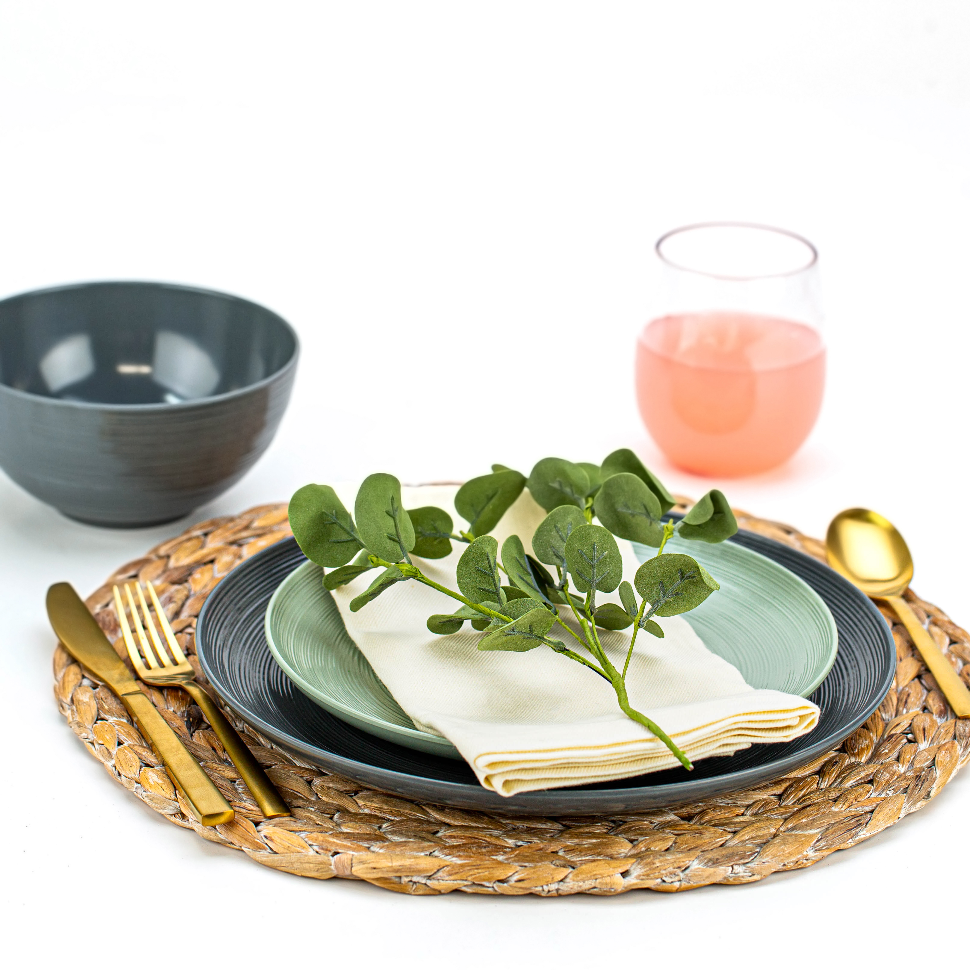 American Conventional Plate & Bowl Sets, Charcoal, 12-piece set slideshow image 8
