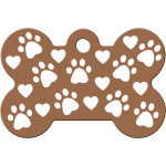 Copper with Paws and Hearts Large Bone Quick-Tag