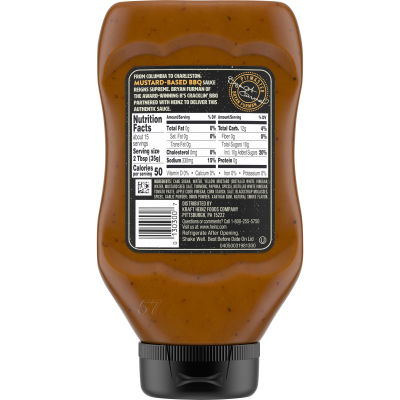 Heinz Carolina Mustard Style BBQ Sauce 18.7 oz Bottle