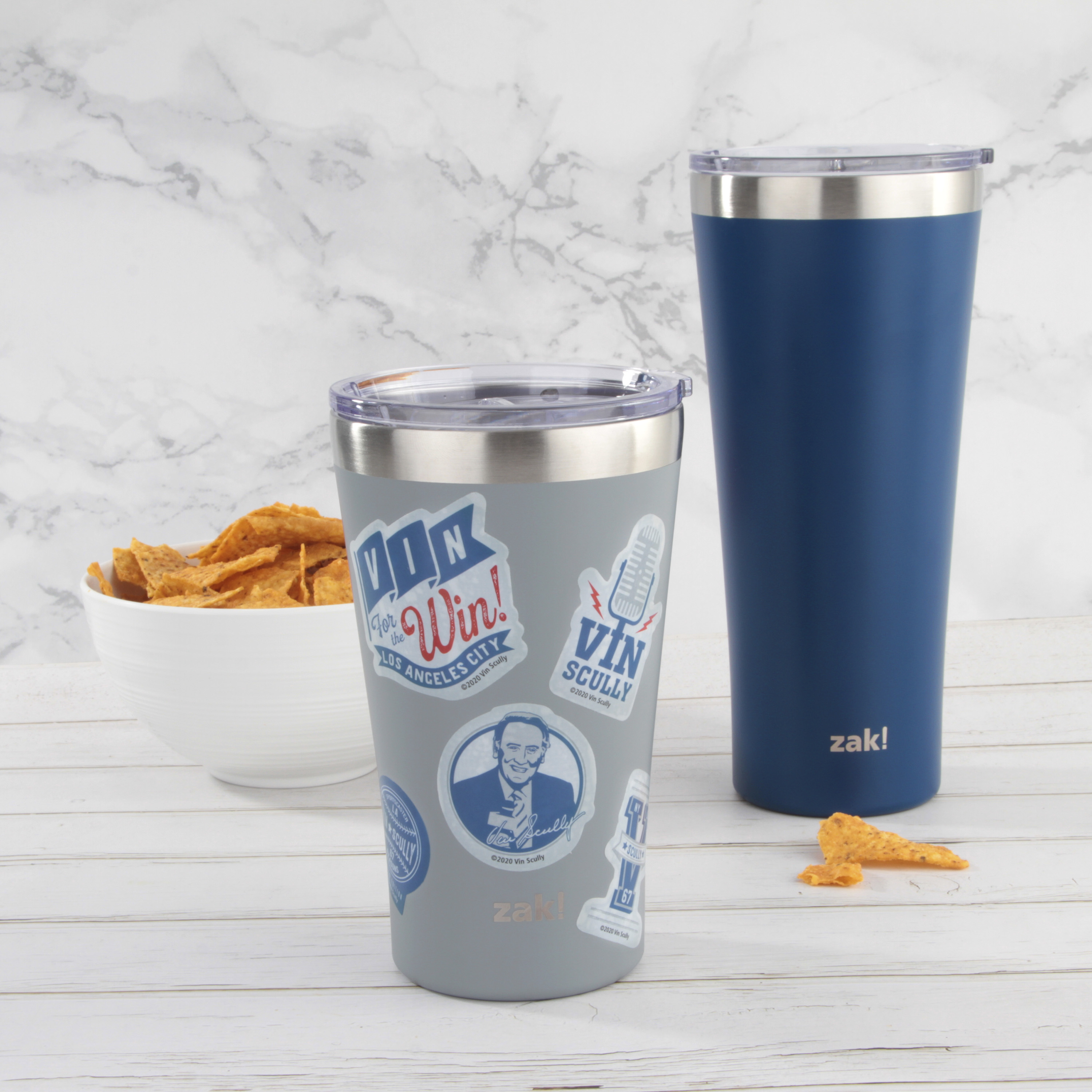 Zak Hydration 20 ounce Vacuum Insulated Stainless Steel Tumbler, Vin Scully, 2-piece set slideshow image 2