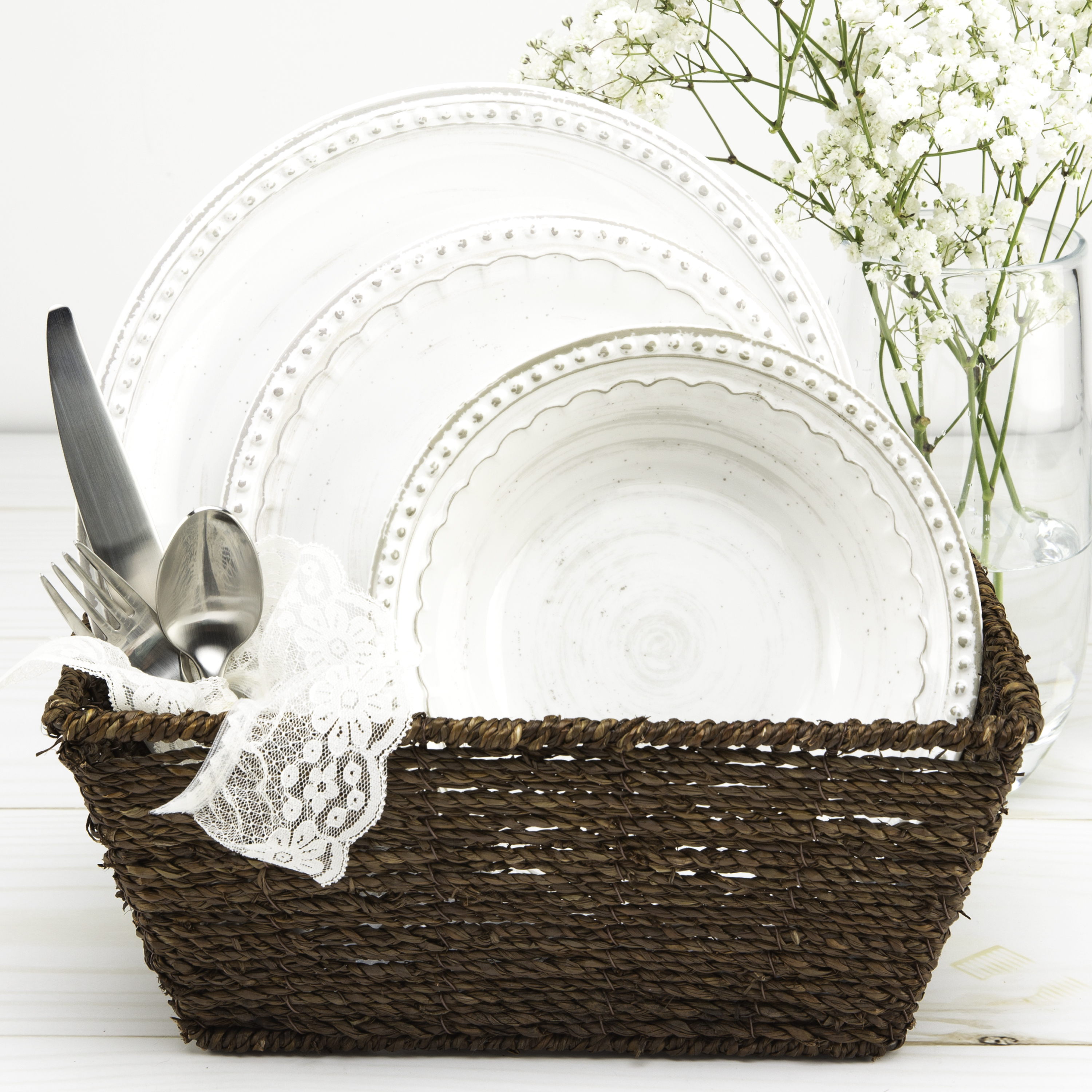 French Country Plate & Bowl Sets, White, 12-piece set slideshow image 9
