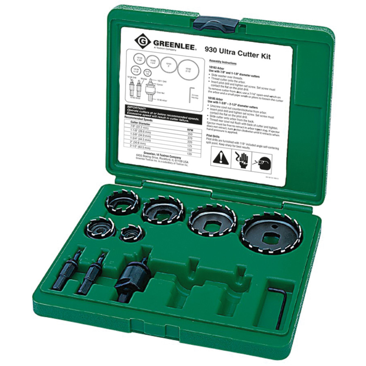"""Greenlee 930 Ultra Hole Cutter Kit, 7/8"""" thru 2-1/2"""" Cutters, Arbors & Hex Wrench, with Case"""