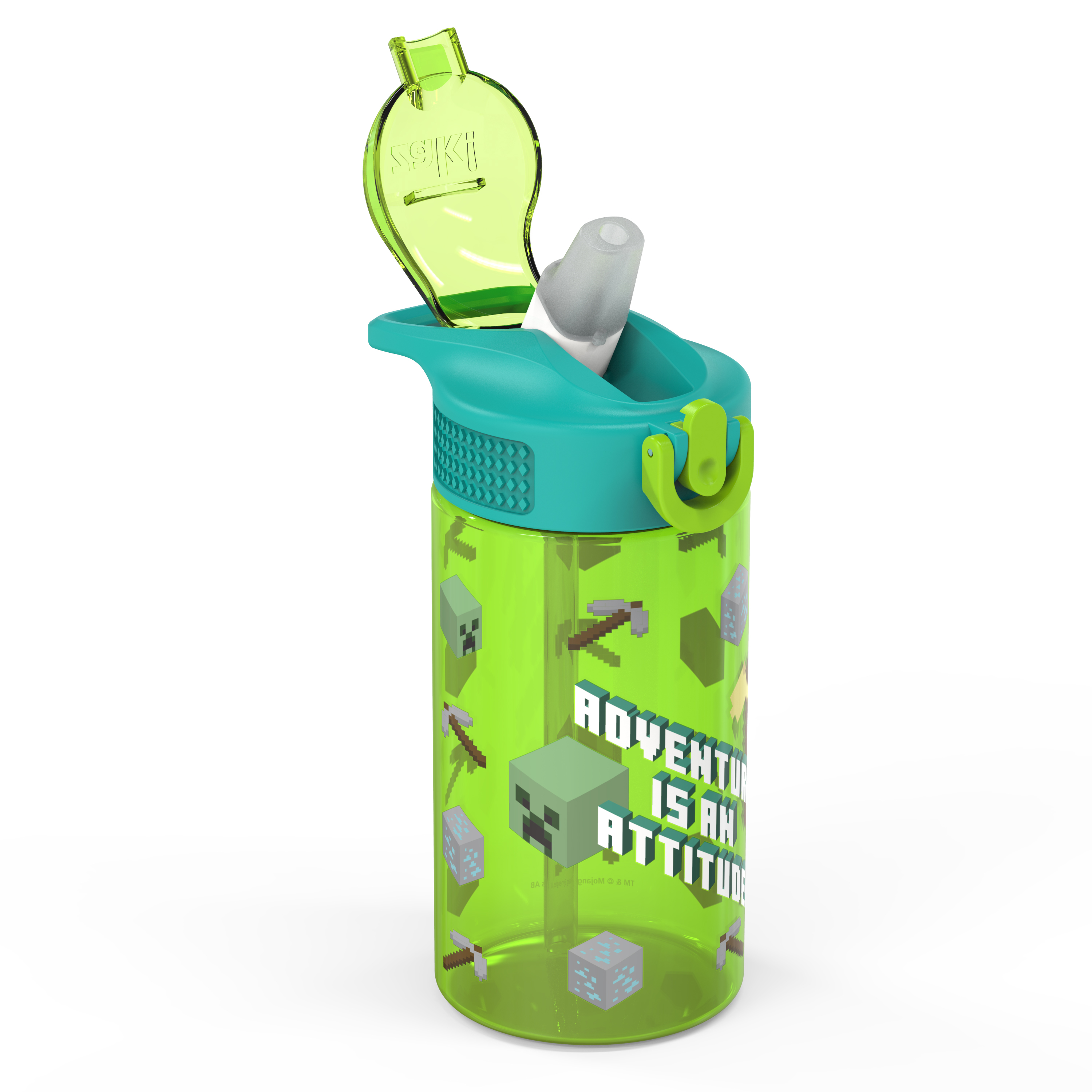 Minecraft 16 ounce Reusable Plastic Water Bottle with Straw, Creeper, 2-piece set slideshow image 3