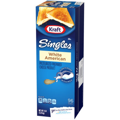 Kraft Singles White American Cheese Slices, 4lb (96 slices)