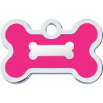 Chrome Bone with Neon Pink Epoxy Small Bone Quick-Tag