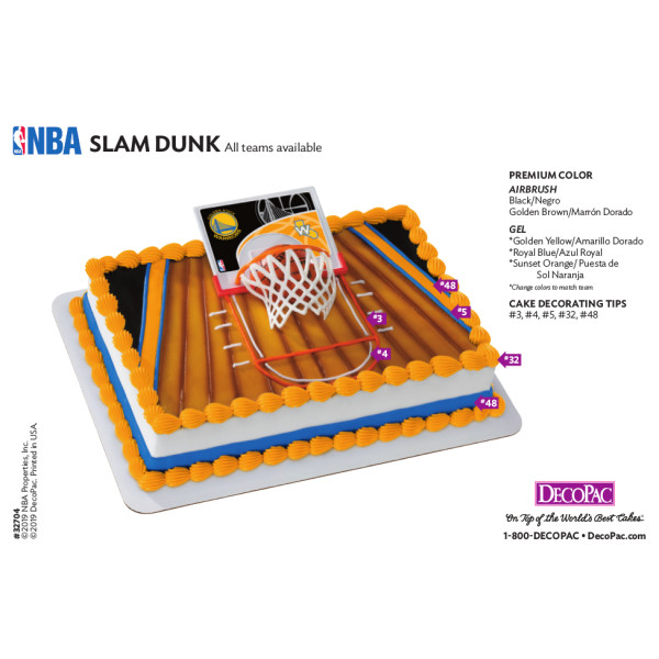 NBA Slam Dunk, All Teams Cake Decorating Instruction Card