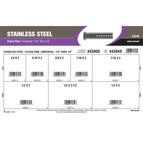 Stainless Steel Universal Clevis Pins Assortment (1/4