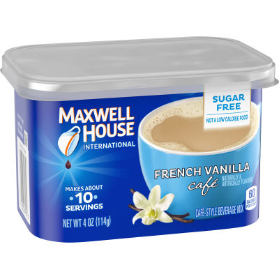 Maxwell House International Sugar-Free French Vanilla Cafe Beverage Mix, 4 oz Canister