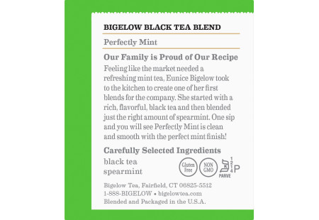 Ingredient panel of  Perfectly Mint Classic Tea - Box of 20 tea bags