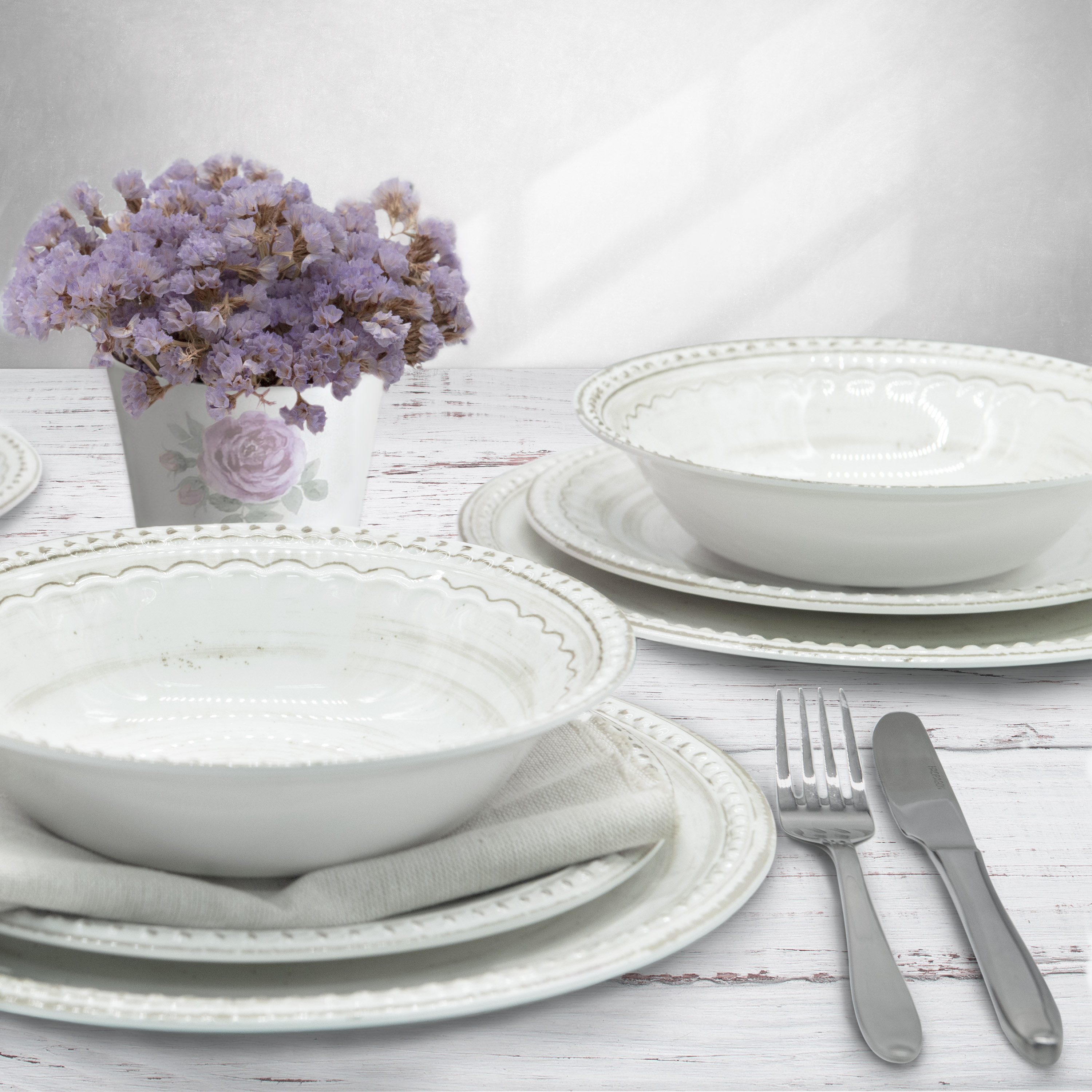 French Country Plate & Bowl Sets, White, 12-piece set slideshow image 2