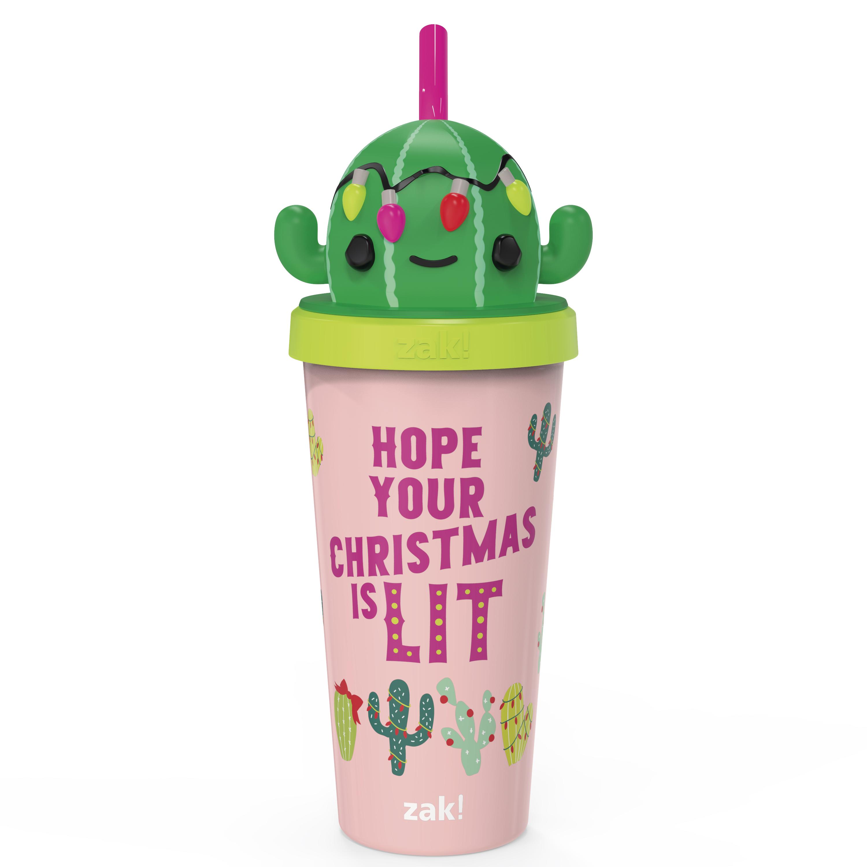 Zak Holiday 18 ounce Reusable Plastic Tumbler, Cactus slideshow image 2