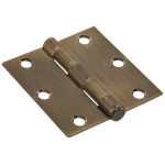 Hardware Essentials Square Corner Antique Brass Door Hinges