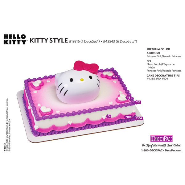 Hello Kitty® Kitty Style Cake Decorating Instruction Card