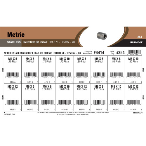 Metric Stainless Steel Socket-Head Set Screws Assortment (M4-0.7 thru M8-1.25)